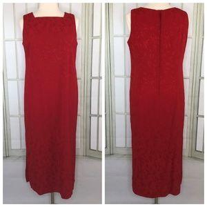 S L Fashions Shift Midi Tunic Dress Sleeveless Red